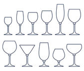 Set of glasses for alcoholic drinks — Stock Vector