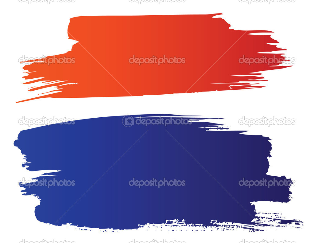 Vector red and blue grunge brushes  — Stock Vector #3616490