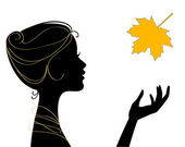 Beautiful woman silhouette with leaf — ストックベクタ
