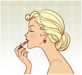 Pin-up with lipstick — Stock Vector