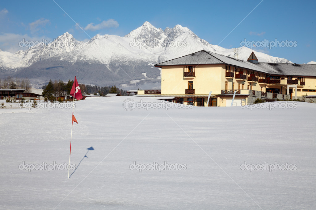 Golf field at winter time — Stock Photo #2970550