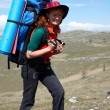 Happy backpacker woman in hat — Stock Photo