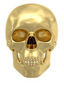 Golden skull isolated on white — Stock Photo