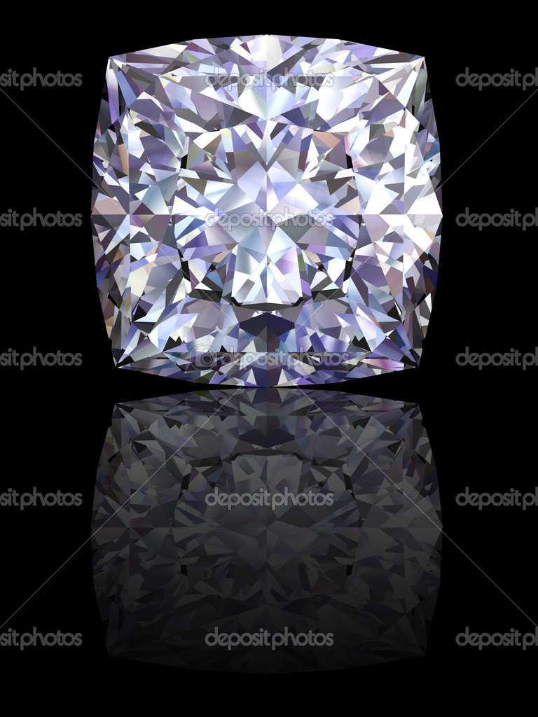 Square diamond on glossy black background. High resolution 3D render with reflections — Stock Photo #2700302