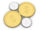 Golden dollar and cent gears on white — Stock Photo