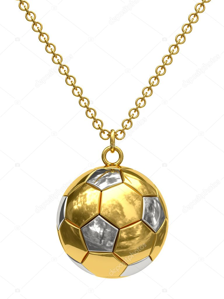 Gold pendant in shape of soccer ball on chain isolated on white. High resolution 3D image — Stock Photo #2731760