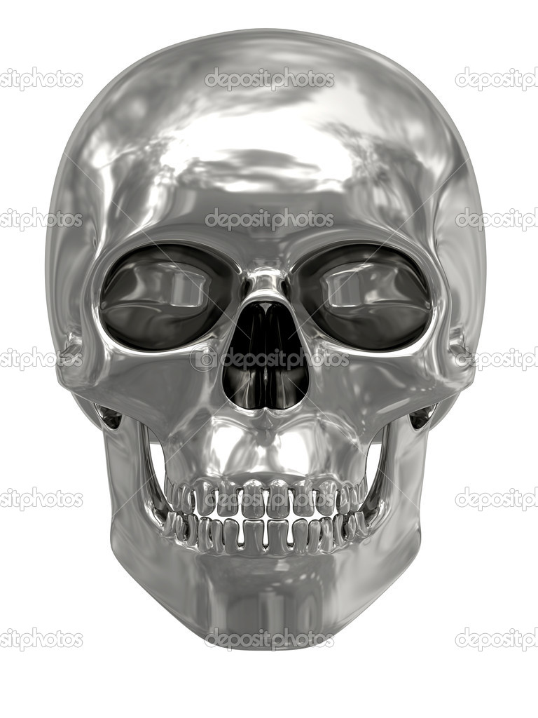Silver or platinum skull isolated on white background. High resolution 3D image — Stok fotoğraf #2731892