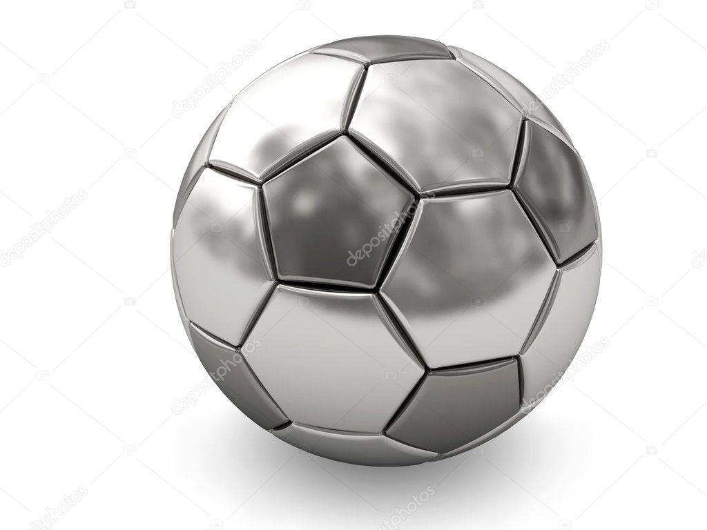 Silver or platinum soccer ball on white background rendered with soft shadows. High resolution 3D image  Stock Photo #2732490