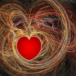 Red heart in fractal waves — Stock Photo