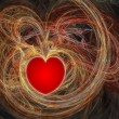 Red heart in fractal waves — Stock Photo #2909849