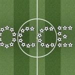 Слово футбол на поле зеленой травы — Стоковое фото