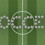 Soccer word on green grass field — Stock Photo