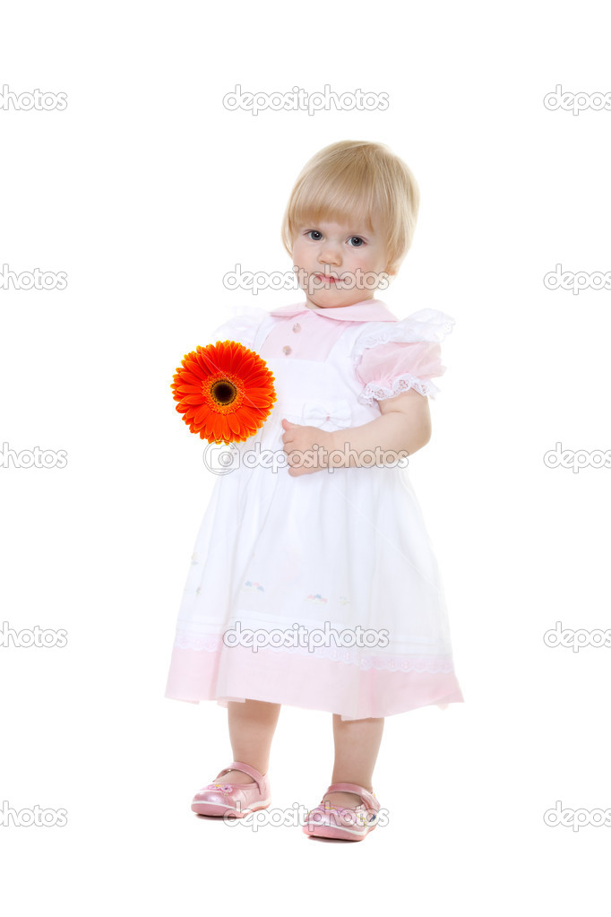 Mother's Day. Сute baby with flower gerbera isolated on white, Focus on a flower — Zdjęcie stockowe #3011620