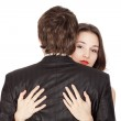 Woman passionately embraces her lover , focus on — Stock Photo #3201495