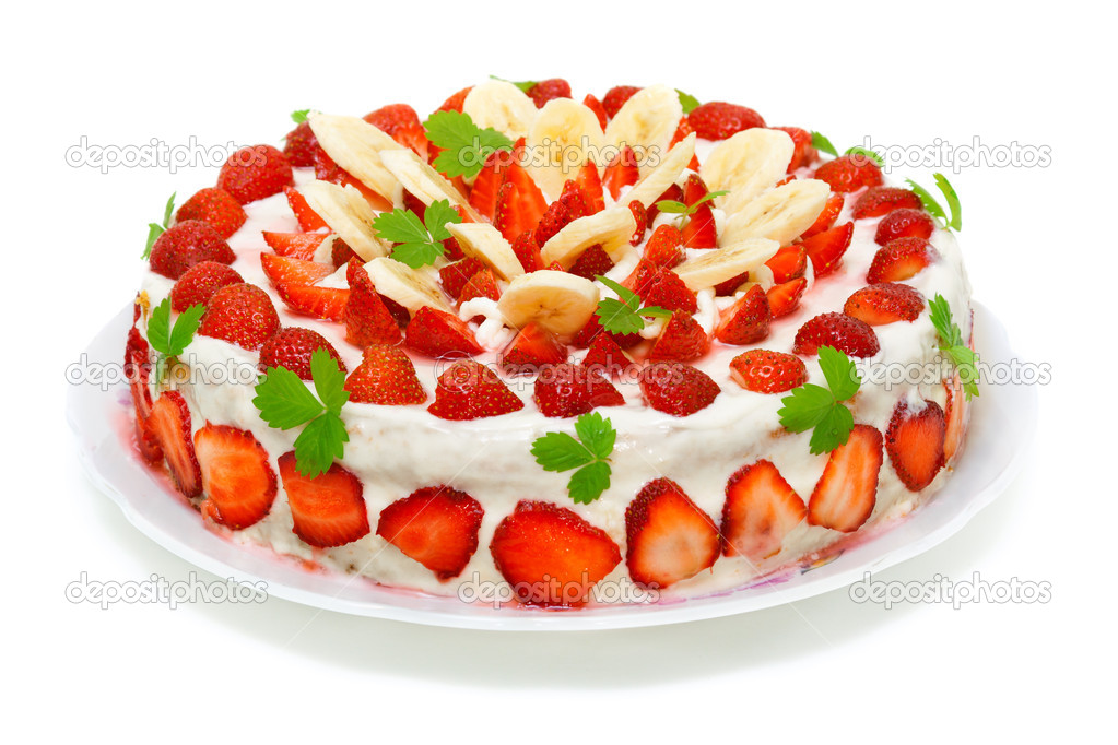 Beautiful Strawberry Cake Images : Beautiful decorated fruit cake , strawberry-banana ...