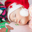 Santa Baby is sleeping — Stock Photo