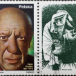 Post stamp with portrait of Pablo Picasso and his painting — Stock Photo #3668988