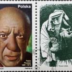 postar o selo com retrato de pablo picasso e sua pintura — Foto Stock
