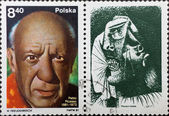 Post stamp with portrait of Pablo Picasso and his painting — Stock Photo