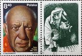 опубликовать штемпеля с портрет пабло пикассо и его живопись — Стоковое фото