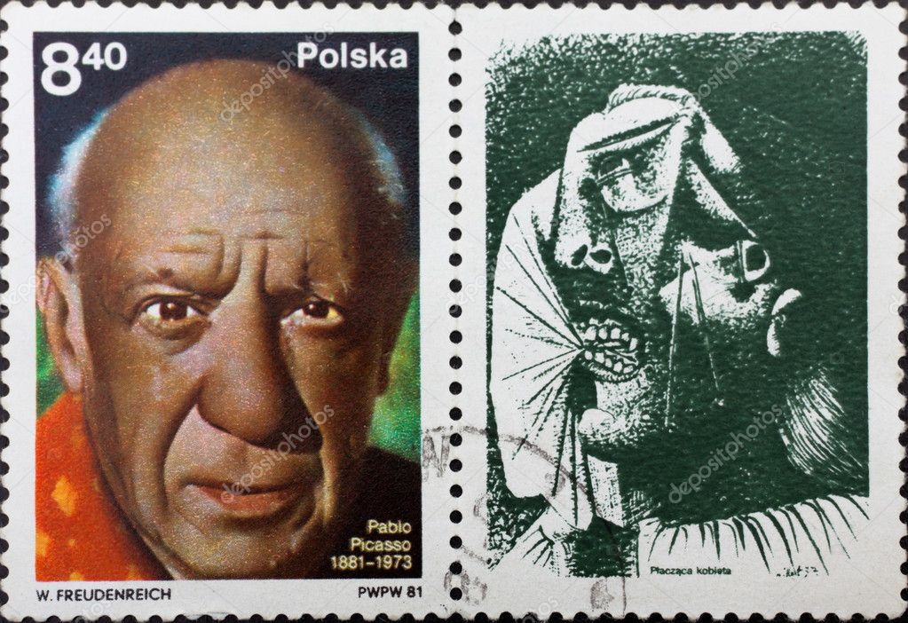 Post stamp with portrait of Pablo Picasso and his painting weeping woman — Stock Photo #3668988