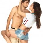 性感的年轻夫妇在吻之前 — 图库照片