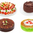 Collage of various cakes isolated on white — Stock Photo #3753198