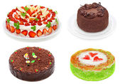 Collage of various cakes isolated on white — Stock Photo