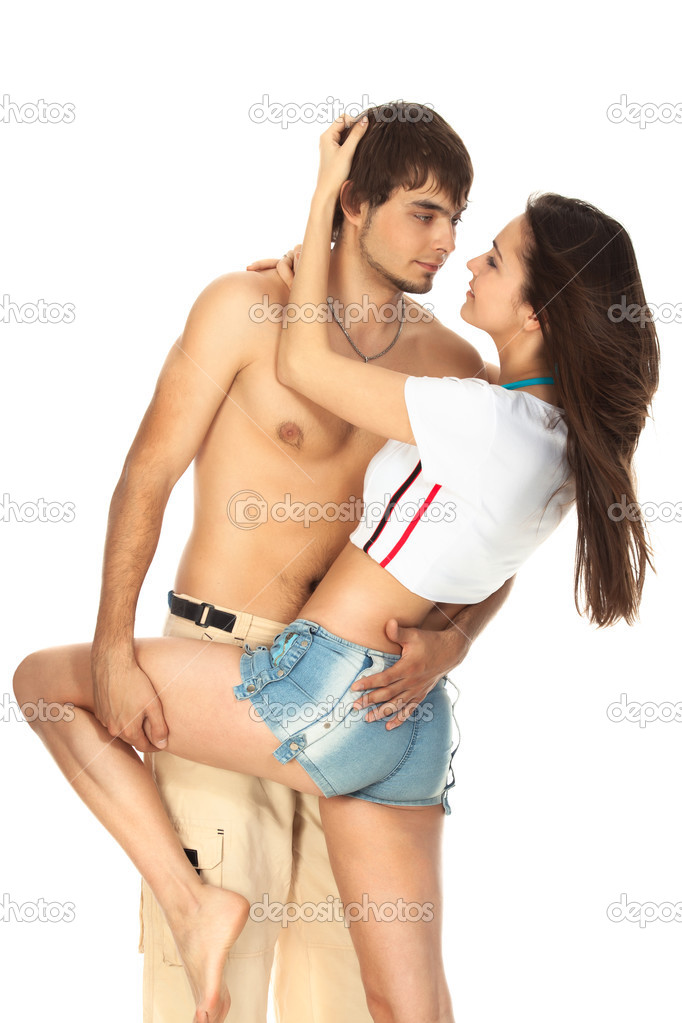 Sexy young couple before kiss isolated on white — Stock Photo #3753188