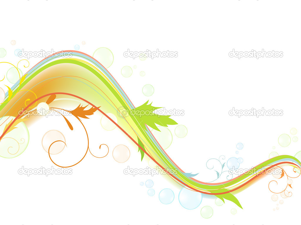 Abstract bright multicolored wave with swirls and bubblies against white background — Stock Vector #2759102