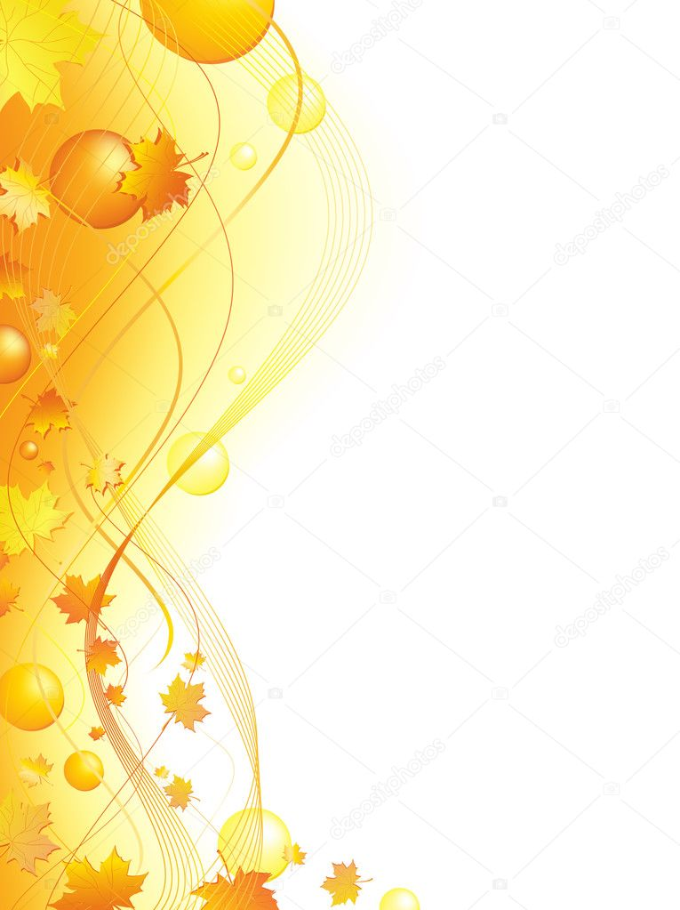 Autumn abstract wavy frame with maple leaves and balls in golden. Copyspace for your text — Stock vektor #2759133