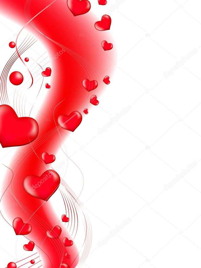 Red love heart abstract wavy shape with copyspace for your text — Stock Vector #2759158