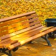 Autumn bench - Stock Photo