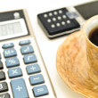Coffee, calculator — Stock Photo