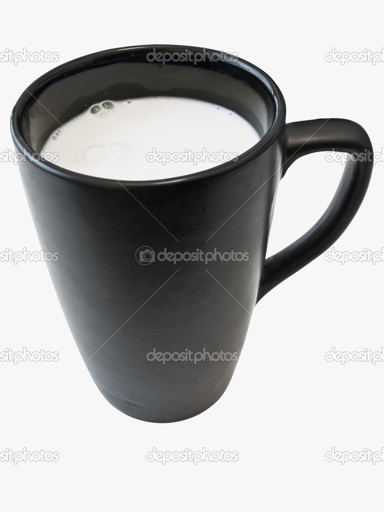Isolated black cup with white milk against the white background  — Stock Photo #2796227