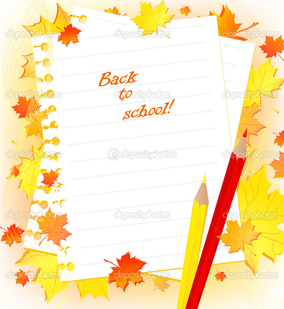 Back to school! frame with maple red and yellow leaves, notes and pencils. Copyspace for your text — Stock Vector #2921347