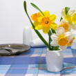 Narcissus and crockery — Stock Photo