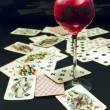 Wine and cards — Stock Photo