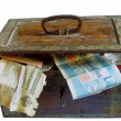 Rusty chest with money - Stock Photo