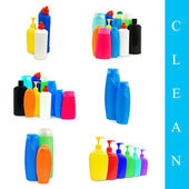 Plasrtic bottles set — Stock Photo
