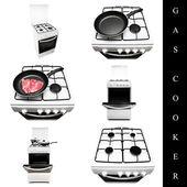 Gas cooker set — Stock Photo