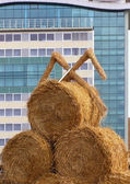 Bundle of hay against the modern building background — Stock Photo