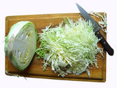 Cabbage on the breadboard — Stok fotoğraf