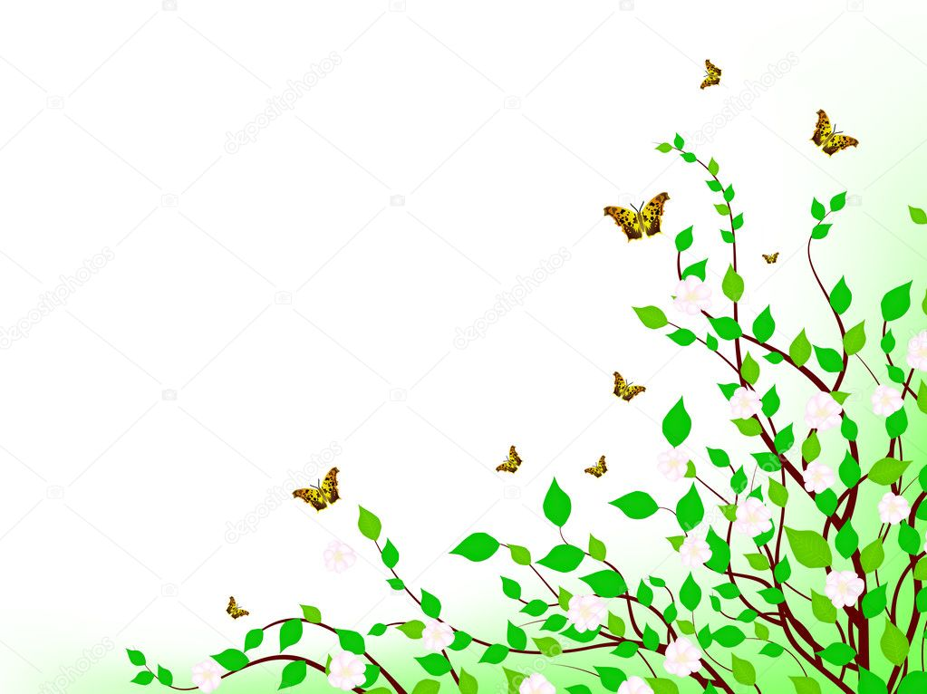 Spring inspiration scenery with green foliage and blossom — Stock Vector #2982138