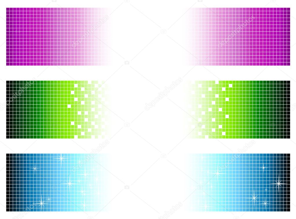 Set of bright multicolored banners in pixel style with copyspace for your text — Stock Vector #2992531