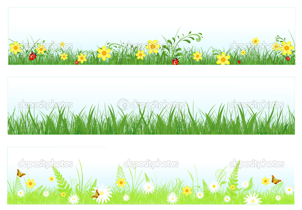Illustration of three web banners in spring and summer themes: foliage, grass, flowers and butterflies    Stock Vector #3042967