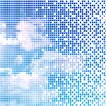 Pixelate sunny blue sky — Stock Vector