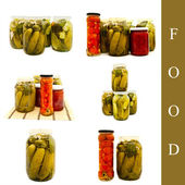 Pickled vegetables in glass jar — Stock Photo