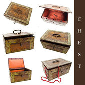Set of old chests — Stock Photo