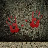 Intérieur de grunge et impression de mains — Photo
